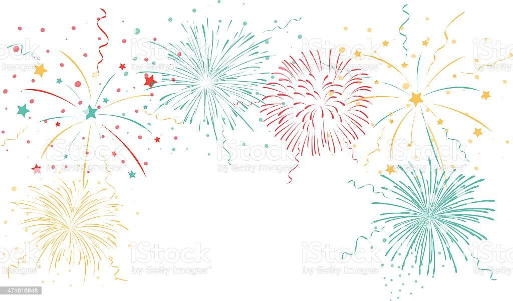 Colorful fireworks background vector art illustration