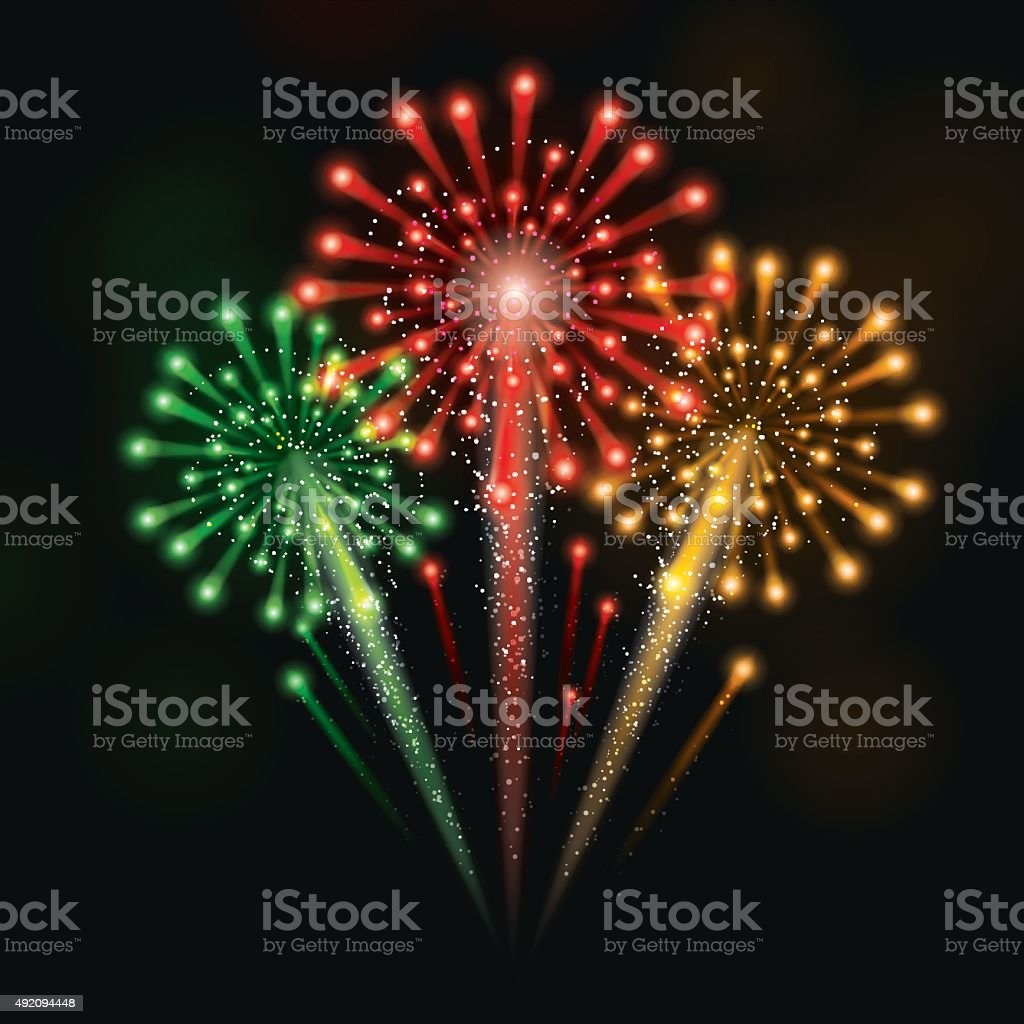 Colorful Fireworks Celebration vector art illustration