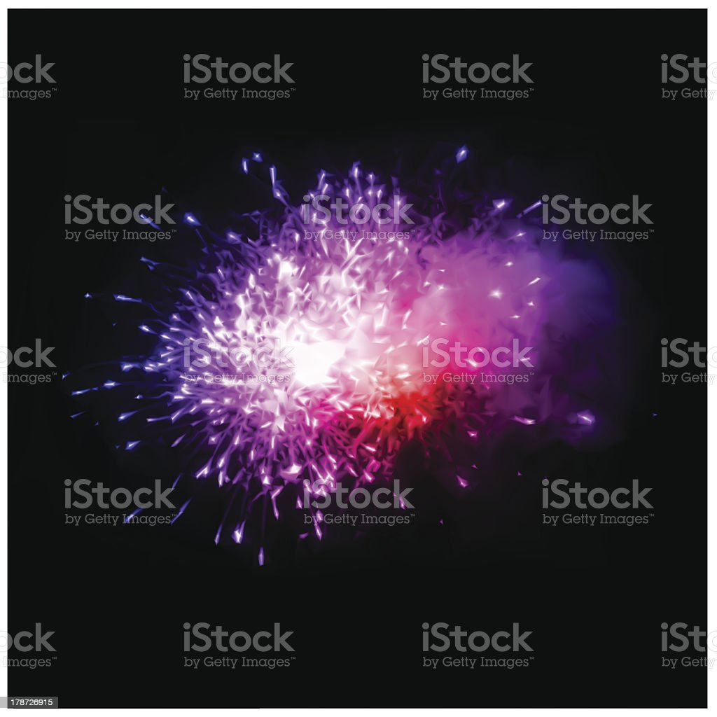 Colorful fireworks in the night sky. Vector royalty-free stock vector art