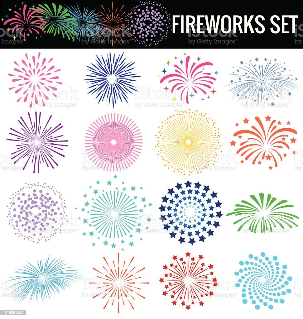 Colorful Fireworks on white background vector art illustration