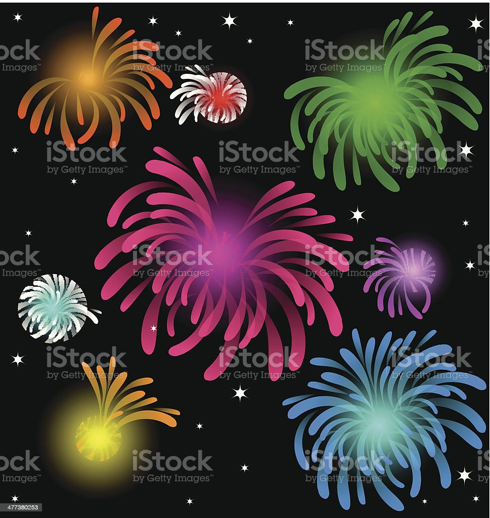 Colorful Fireworks  over the Night royalty-free stock vector art