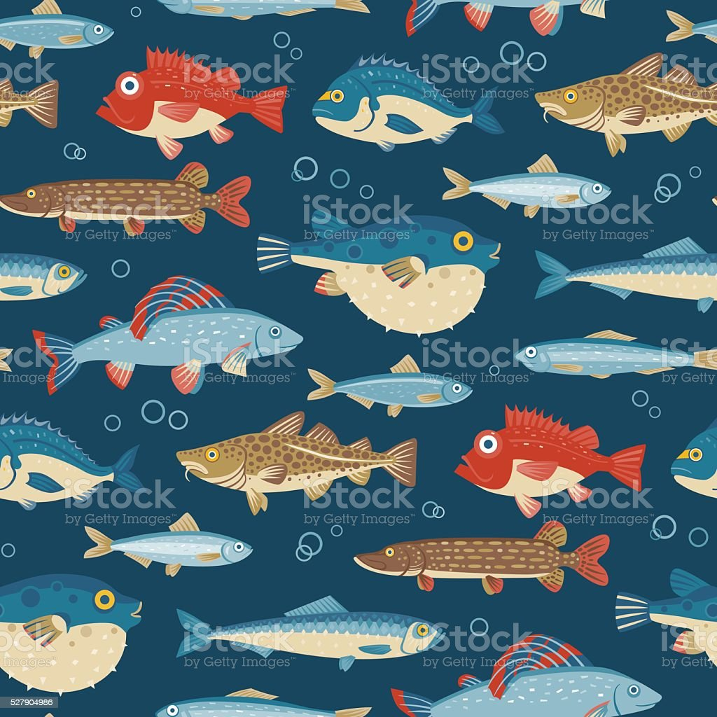 Colorful fish, vector seamless pattern vector art illustration