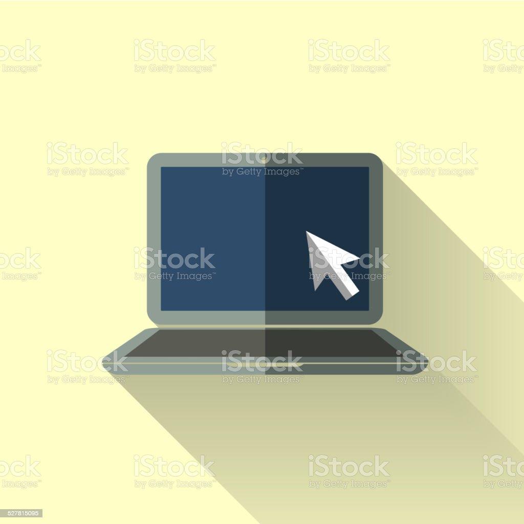 colorful flat design laptop icon vector art illustration