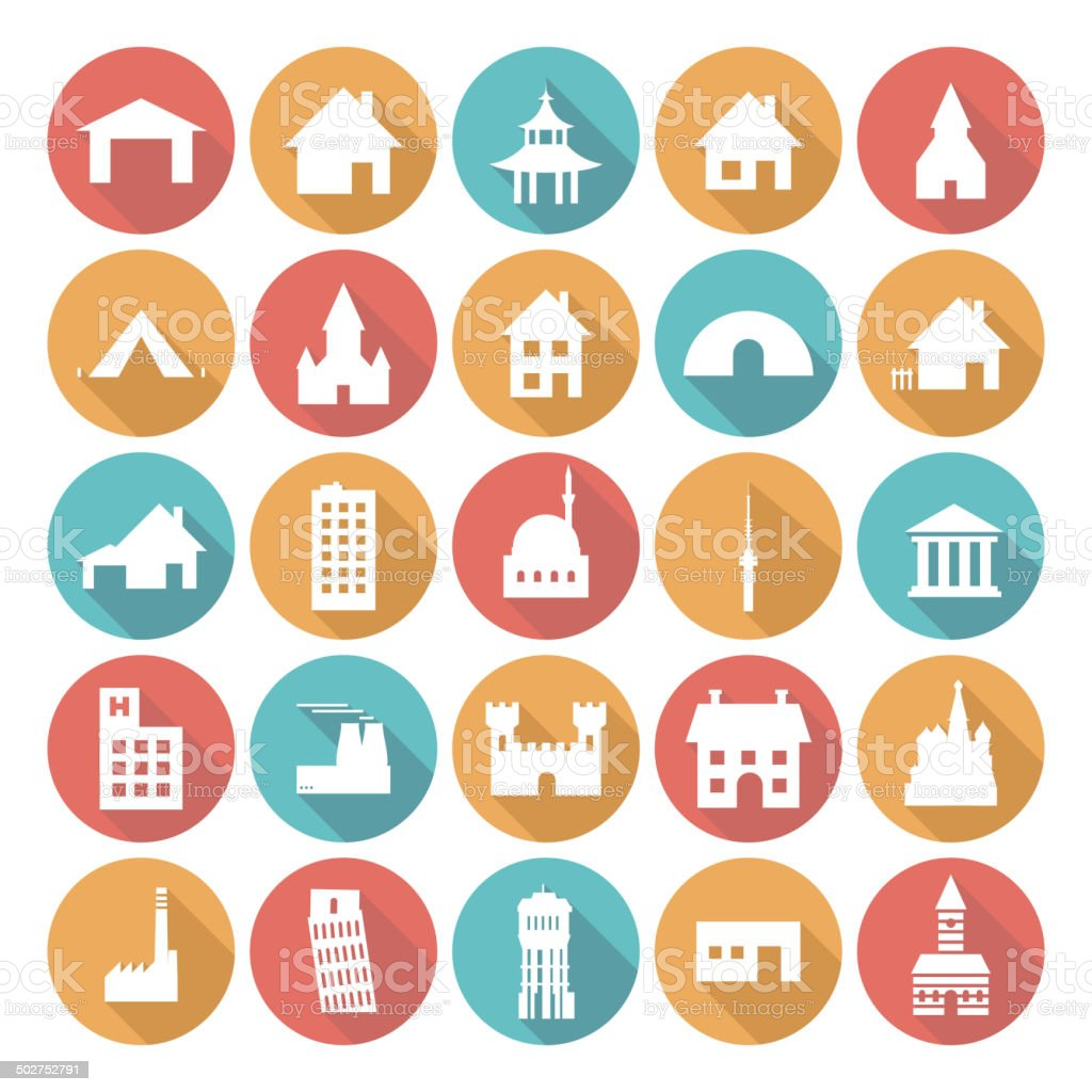 Colorful Flat Icon Designs - Buildings vector art illustration
