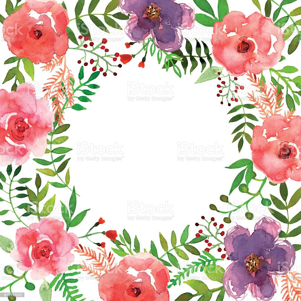 Colorful floral collection with leaves and flowers, drawing watercolor vector art illustration