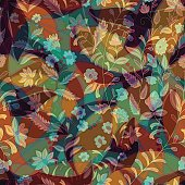 Colorful floral decorative pattern. Seamless background