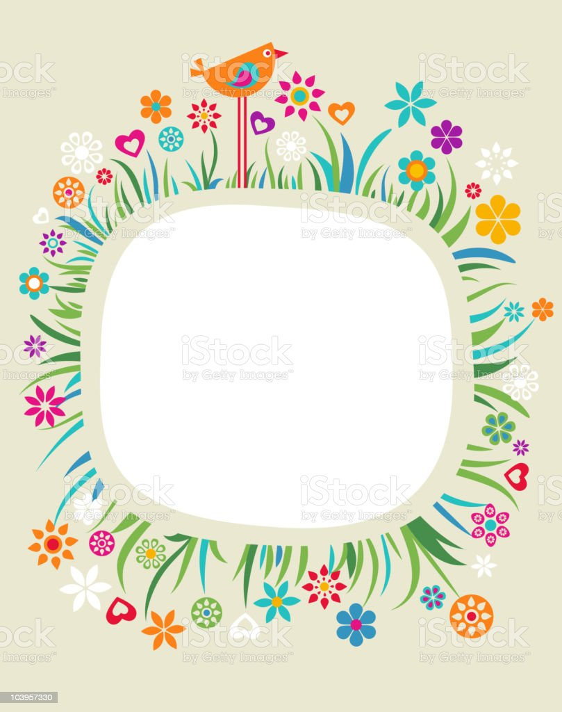 A colorful floral design set against a yellow background vector art illustration