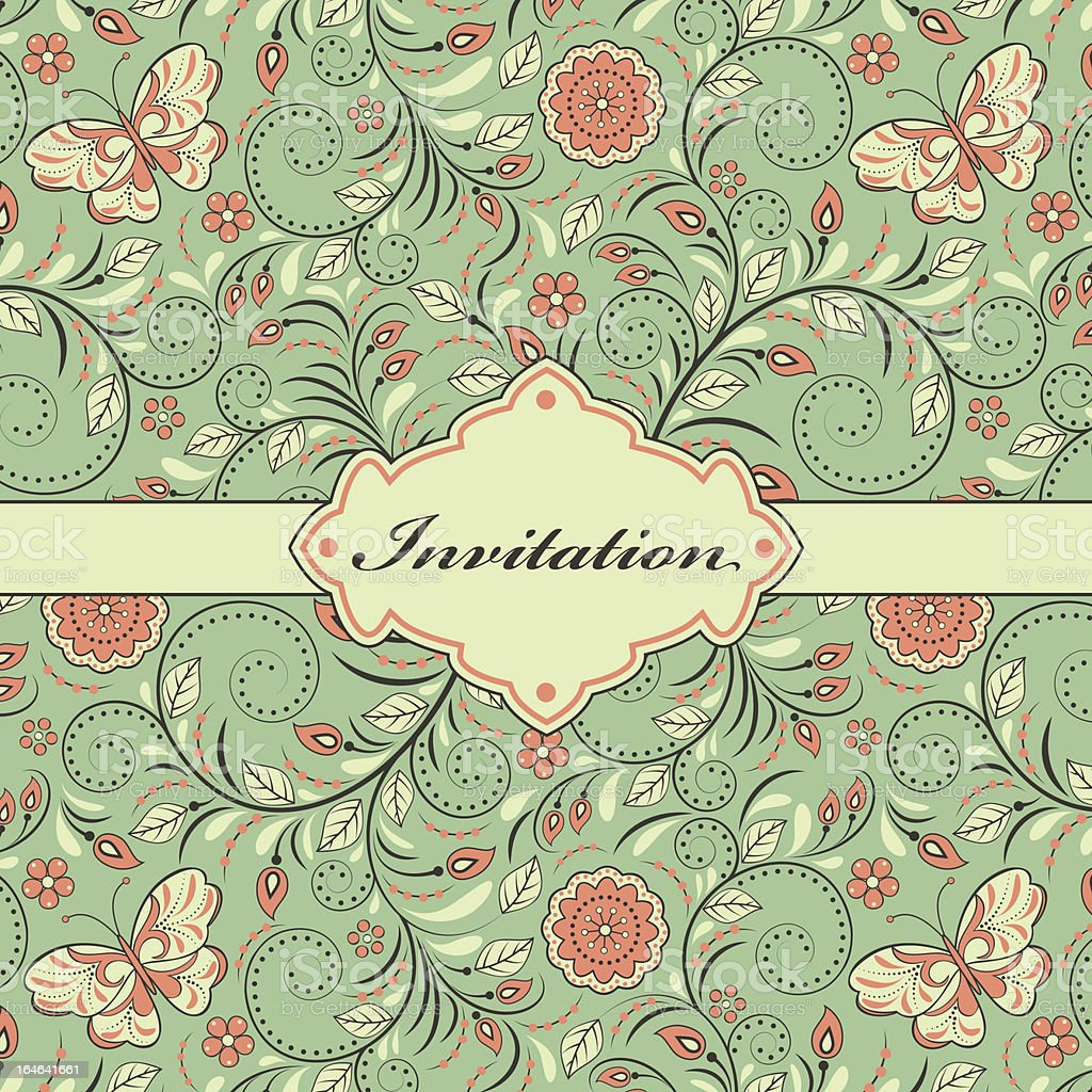 colorful floral invitation card royalty-free stock vector art