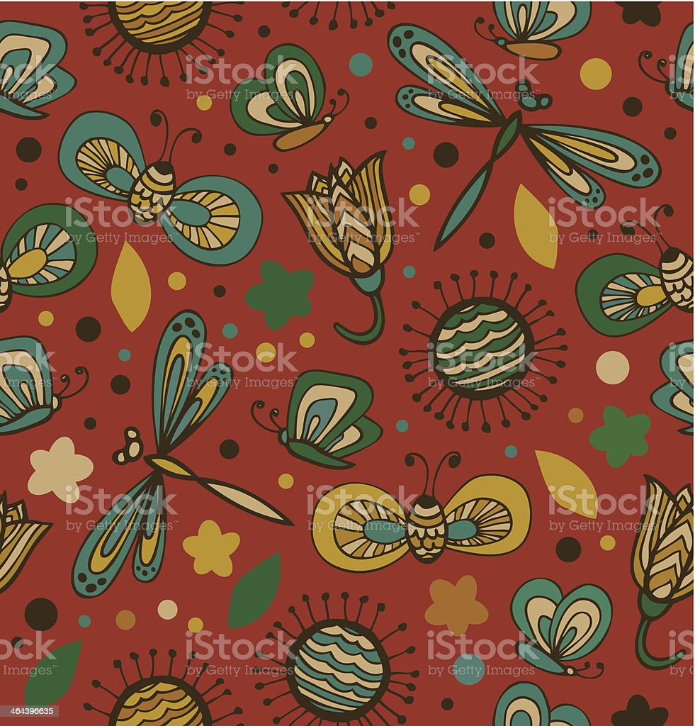 Colorful floral pattern with flowers, dragonflies royalty-free stock vector art