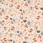 Colorful floral seamless pattern hand-drawn on beige background