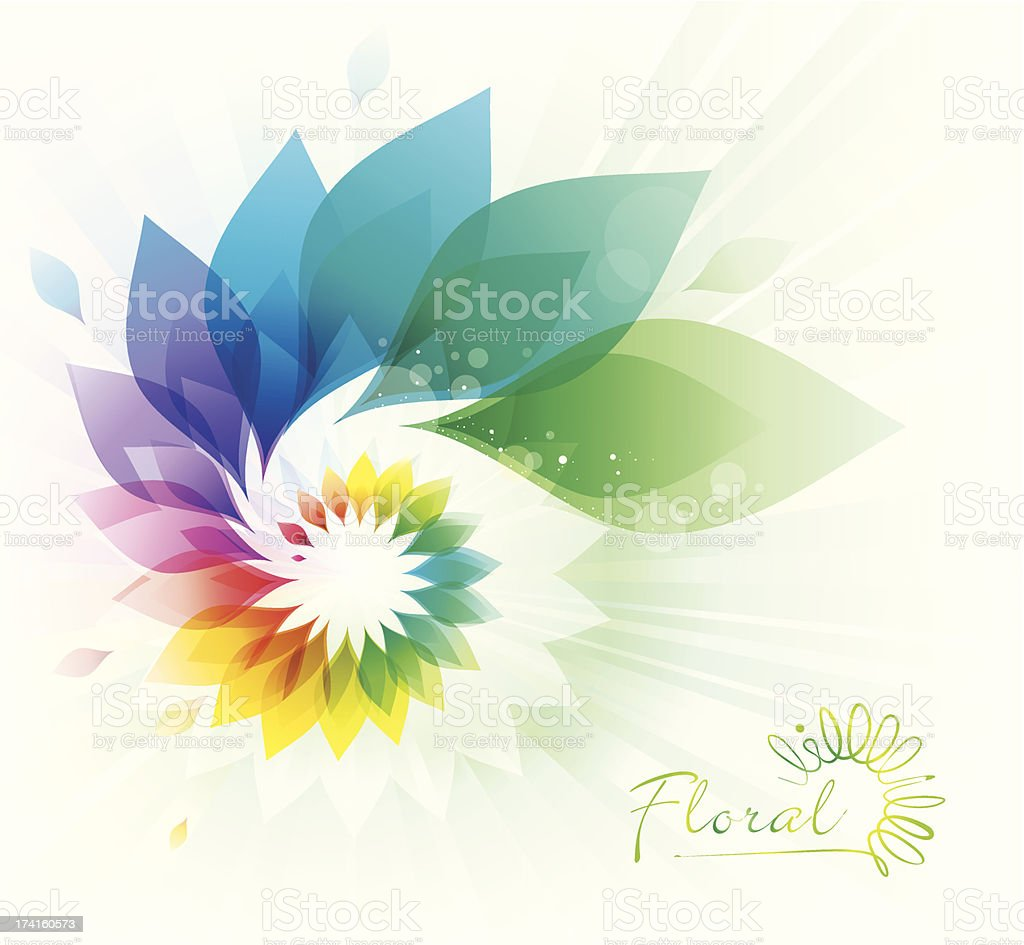 Colorful Floral Swirl vector art illustration
