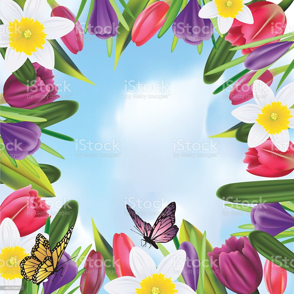 Colorful Flower Frame royalty-free stock vector art