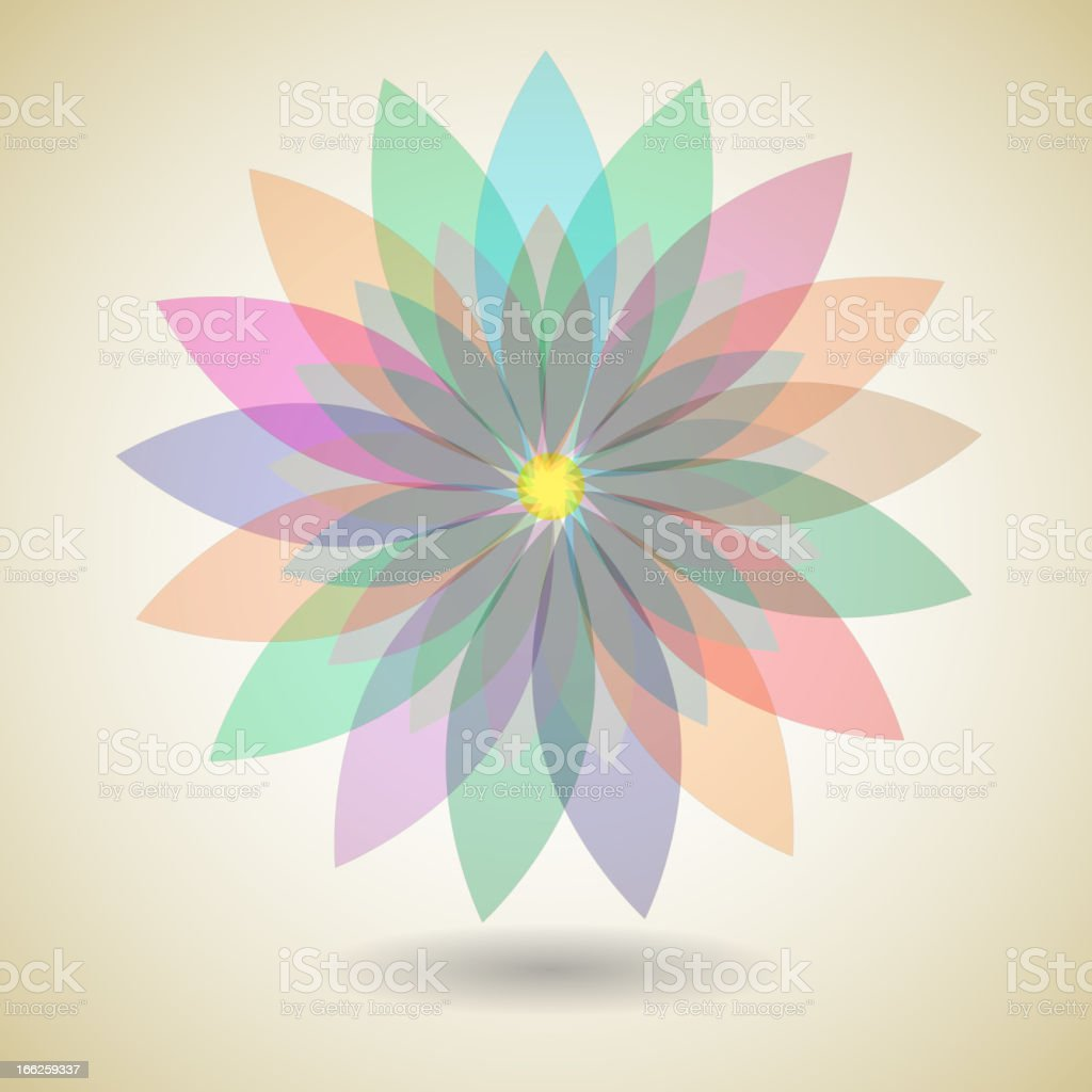 Colorful flower with shadow background royalty-free stock vector art