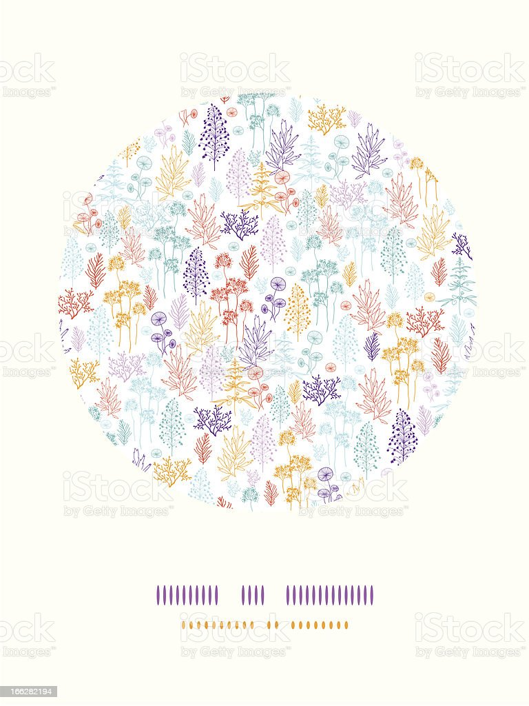 Colorful flowers and plants circle decor pattern background royalty-free stock vector art