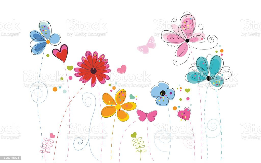 Colorful flowers greeting card vector art illustration