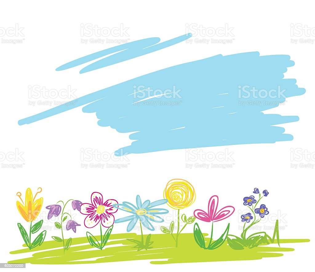 Colorful flowers on green meadow. vector art illustration