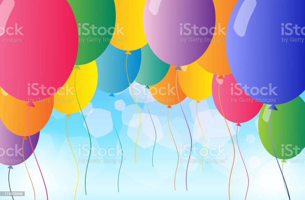 Colorful flying balloons royalty-free stock vector art