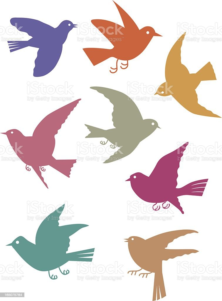 Colorful flying bird illustrations on a white background royalty-free stock vector art