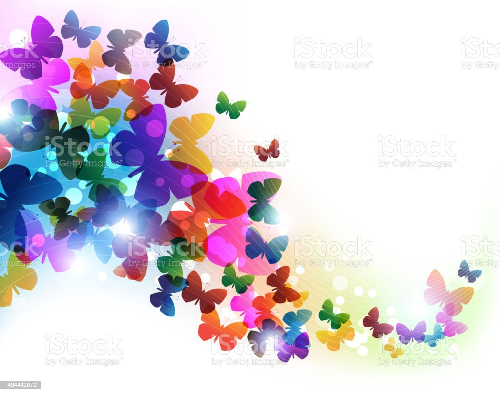 Colorful flying butterflies vector art illustration