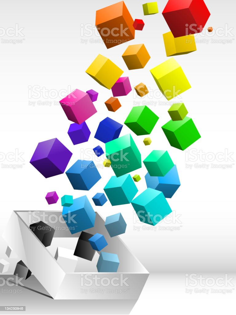Colorful flying cubes background royalty-free stock vector art
