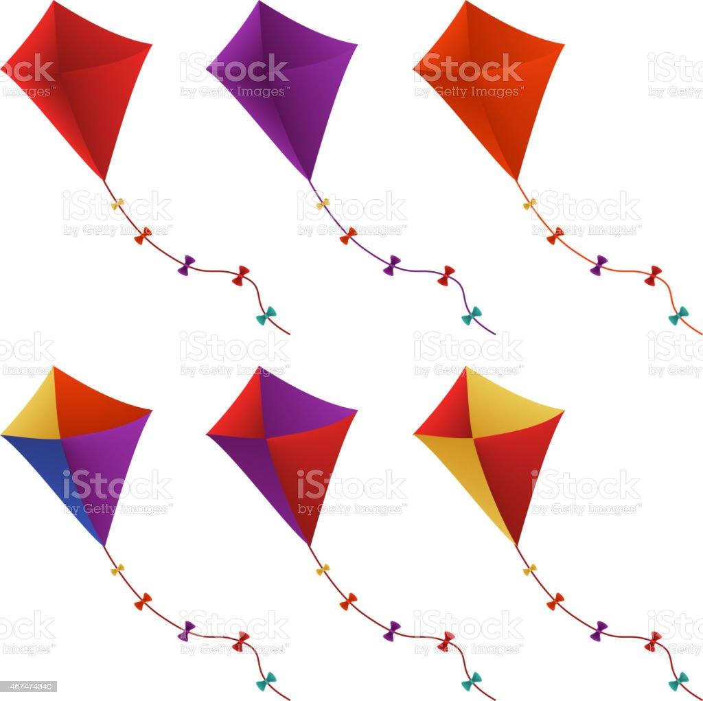 Colorful Flying Kites Set in White Background vector art illustration