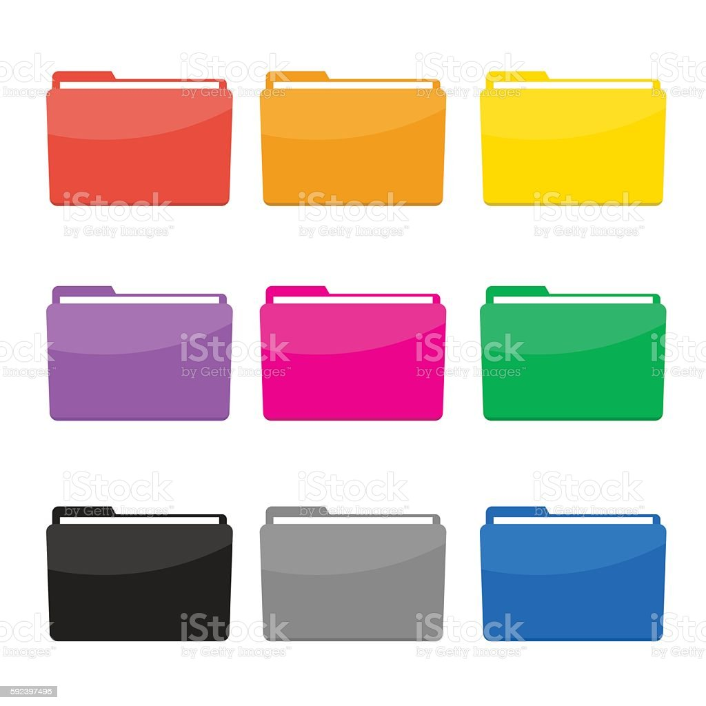 Colorful Folder Icons Set Vector vector art illustration