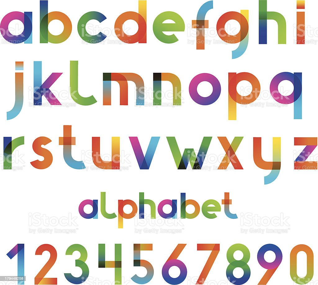 Colorful font and numbers collection vector art illustration