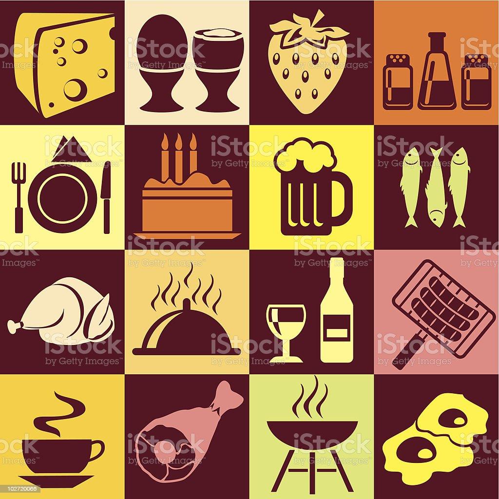 colorful food vector art illustration