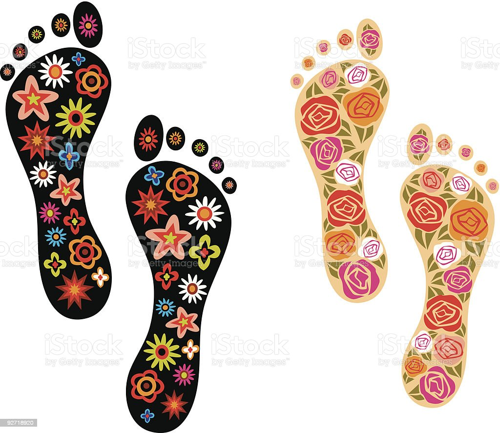 Colorful Foot Prints royalty-free stock vector art