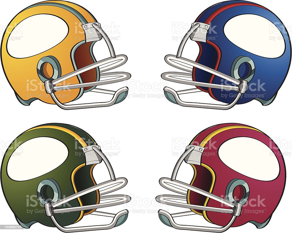 Colorful football helmets royalty-free stock vector art