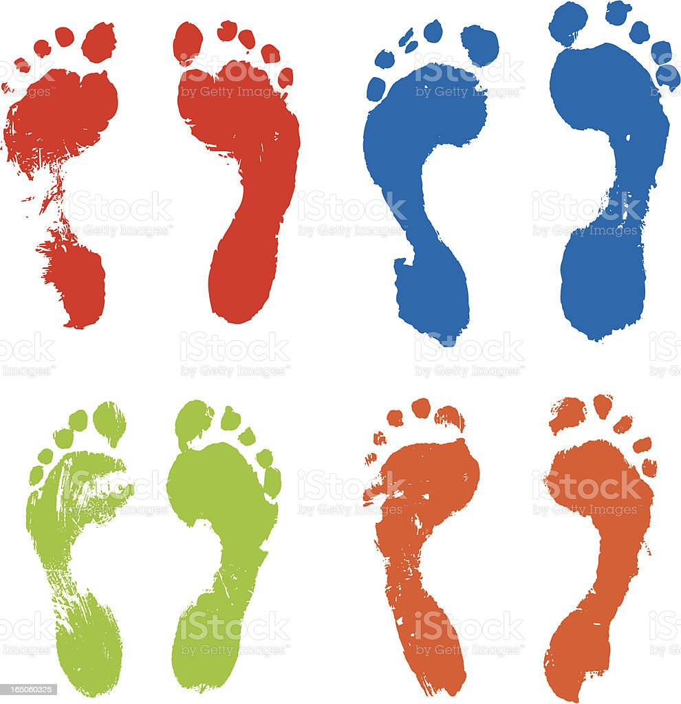 Colorful footprints vector art illustration