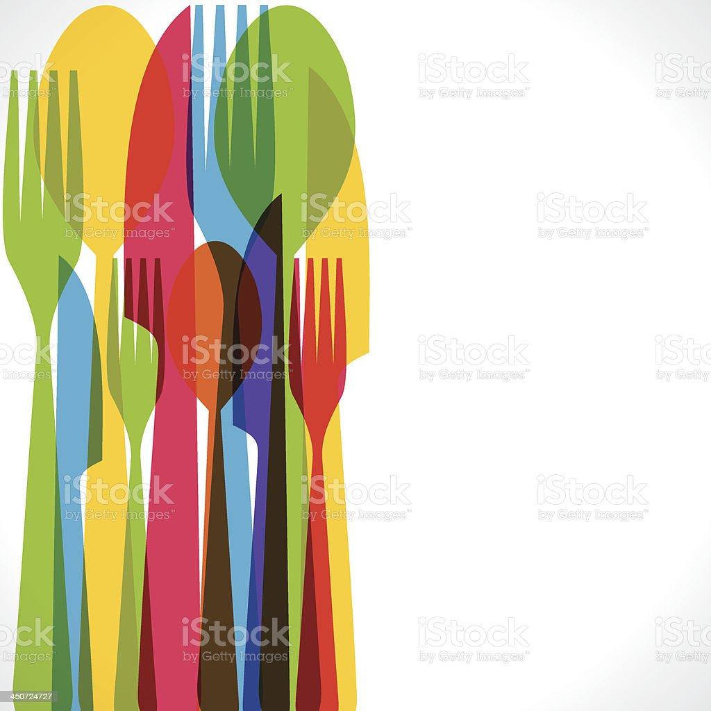 colorful forks background vector art illustration