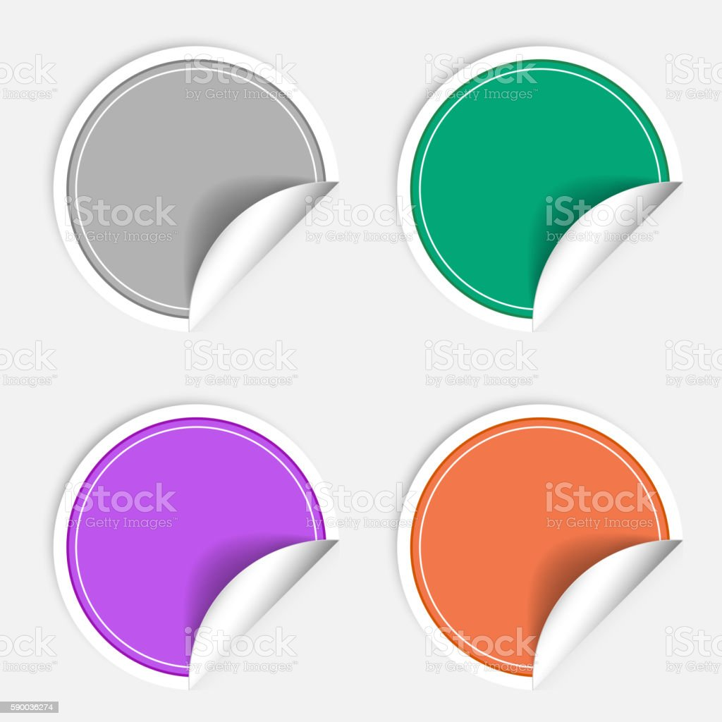 Colorful four blank stickers set. Badge collection in different  colors vector art illustration