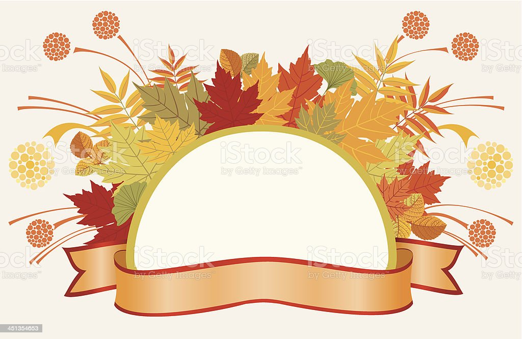 Colorful frame with autumn leaves royalty-free stock vector art