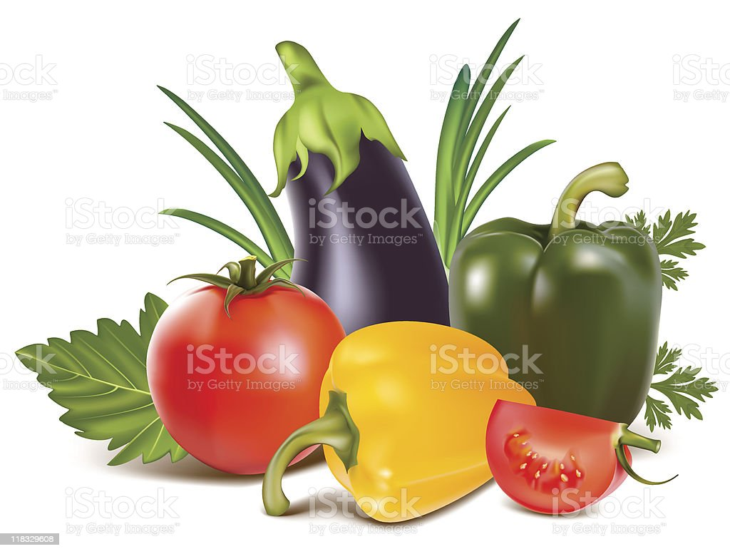 Colorful fresh group of vegetables royalty-free stock vector art