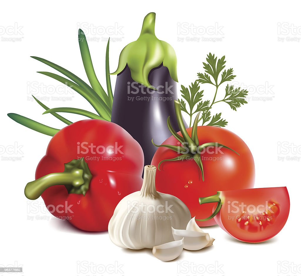 Colorful fresh group of vegetables. royalty-free stock vector art