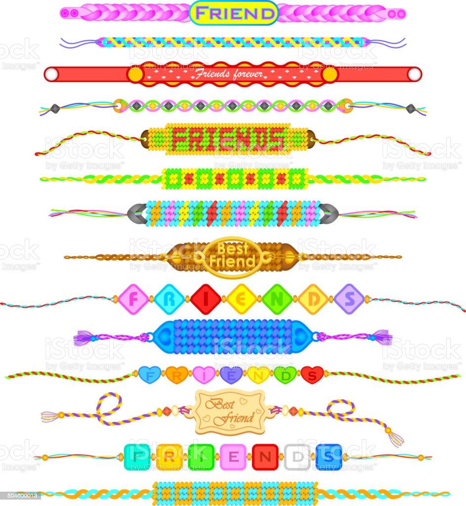 Colorful Friendship bands vector art illustration