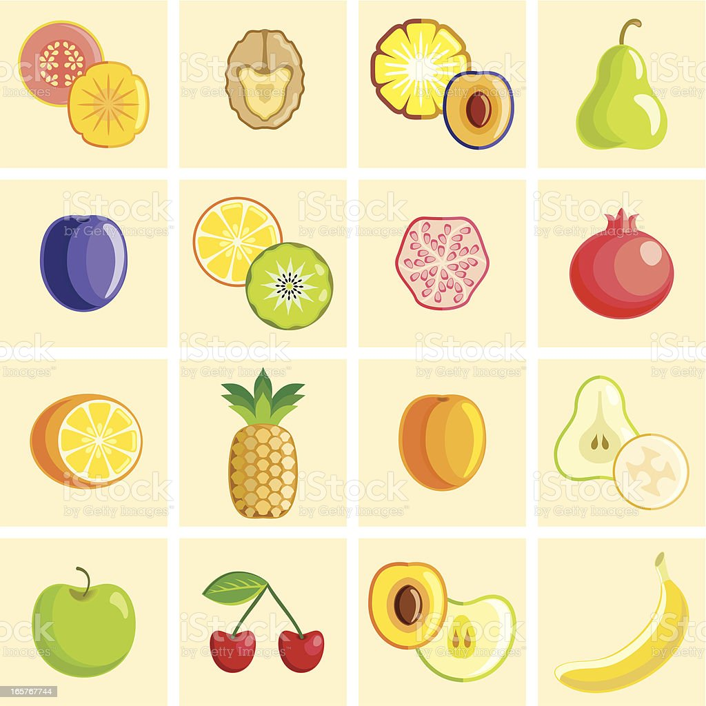 Colorful fruit icons vector art illustration