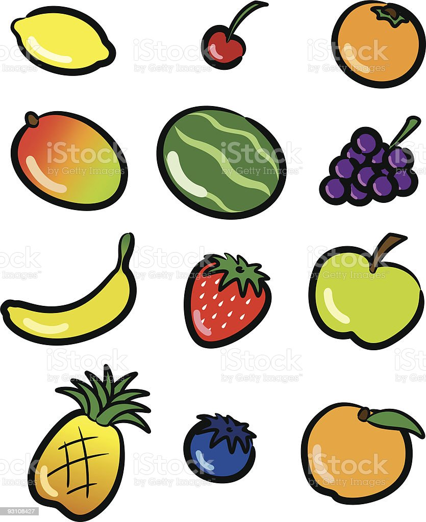 Colorful Fruit Icons royalty-free stock vector art