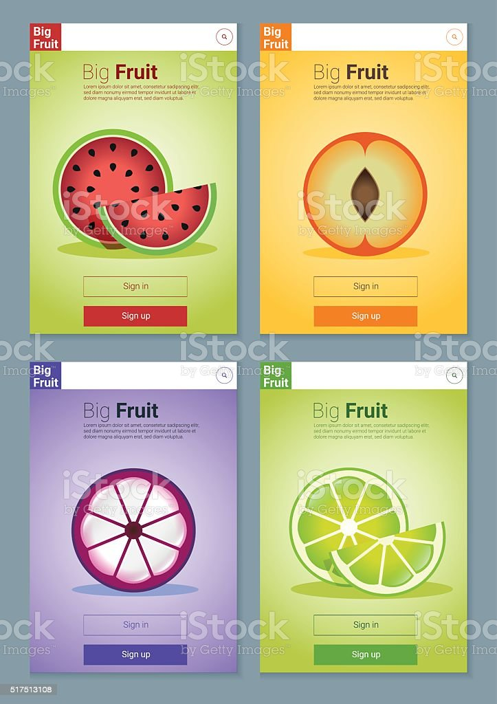 Colorful Fruits banner for app design 3 vector art illustration