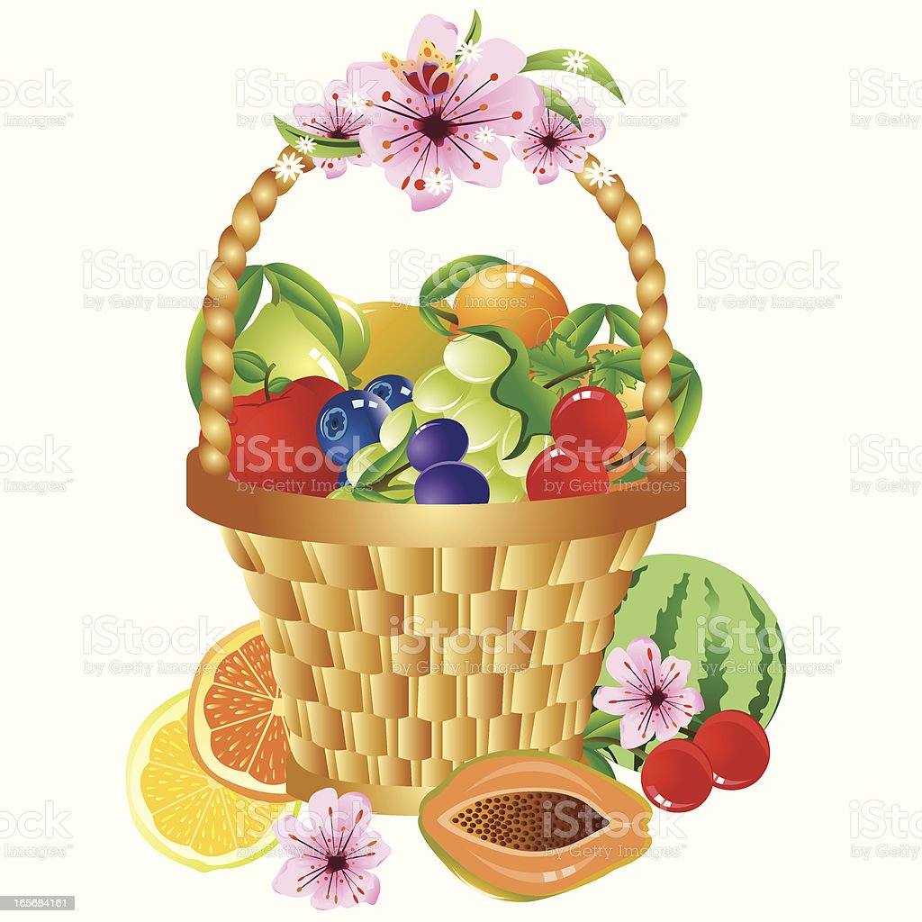 Colorful Fruits In The Basket vector art illustration