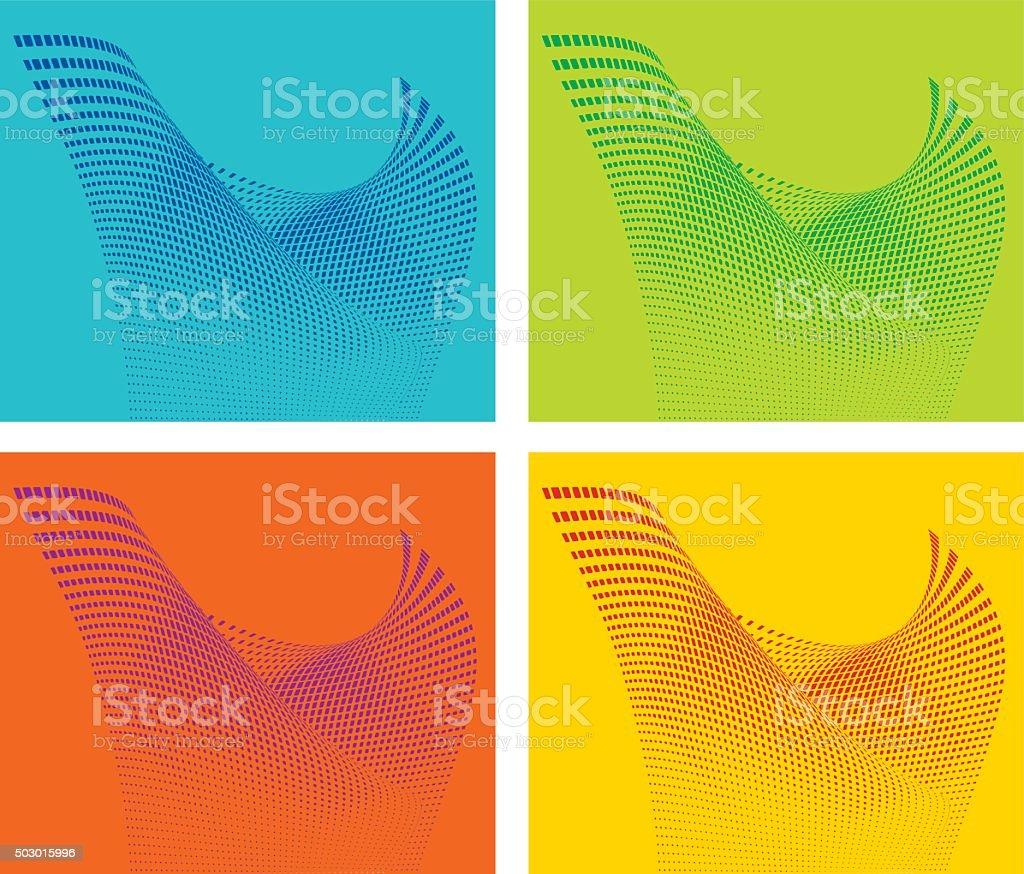 Colorful, Futuristic Halftone Pattern Wavy Grid vector art illustration