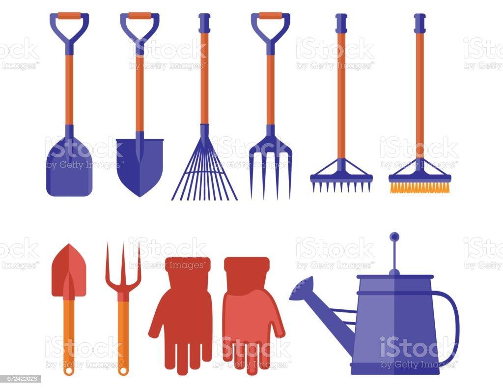 colorful garden tools for gardening landscaping vector art illustration