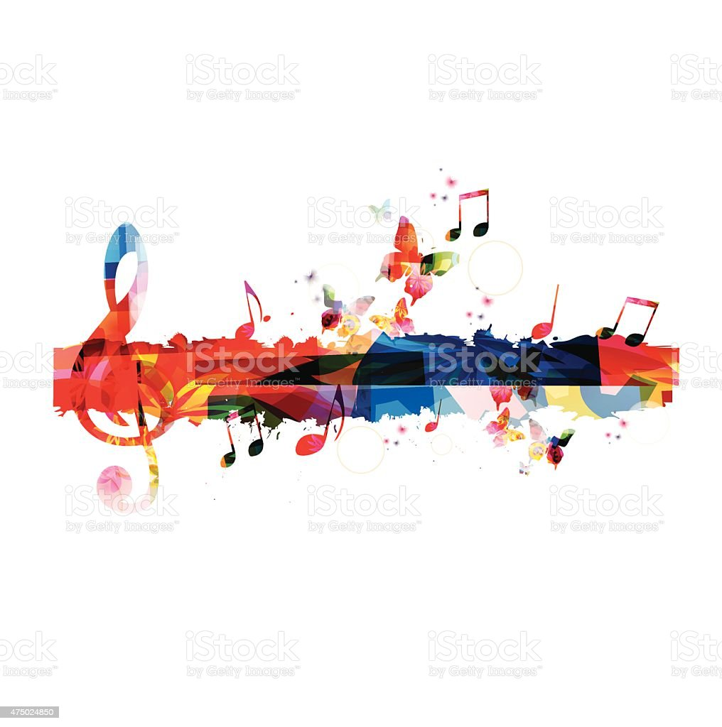 Colorful G-clef background vector art illustration