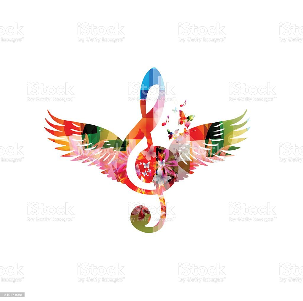 Colorful G-clef design with wings vector art illustration