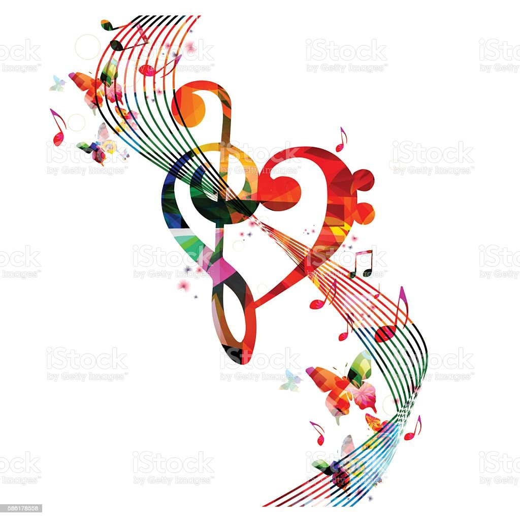 Colorful G-clef heart with music notes and butterflies vector art illustration