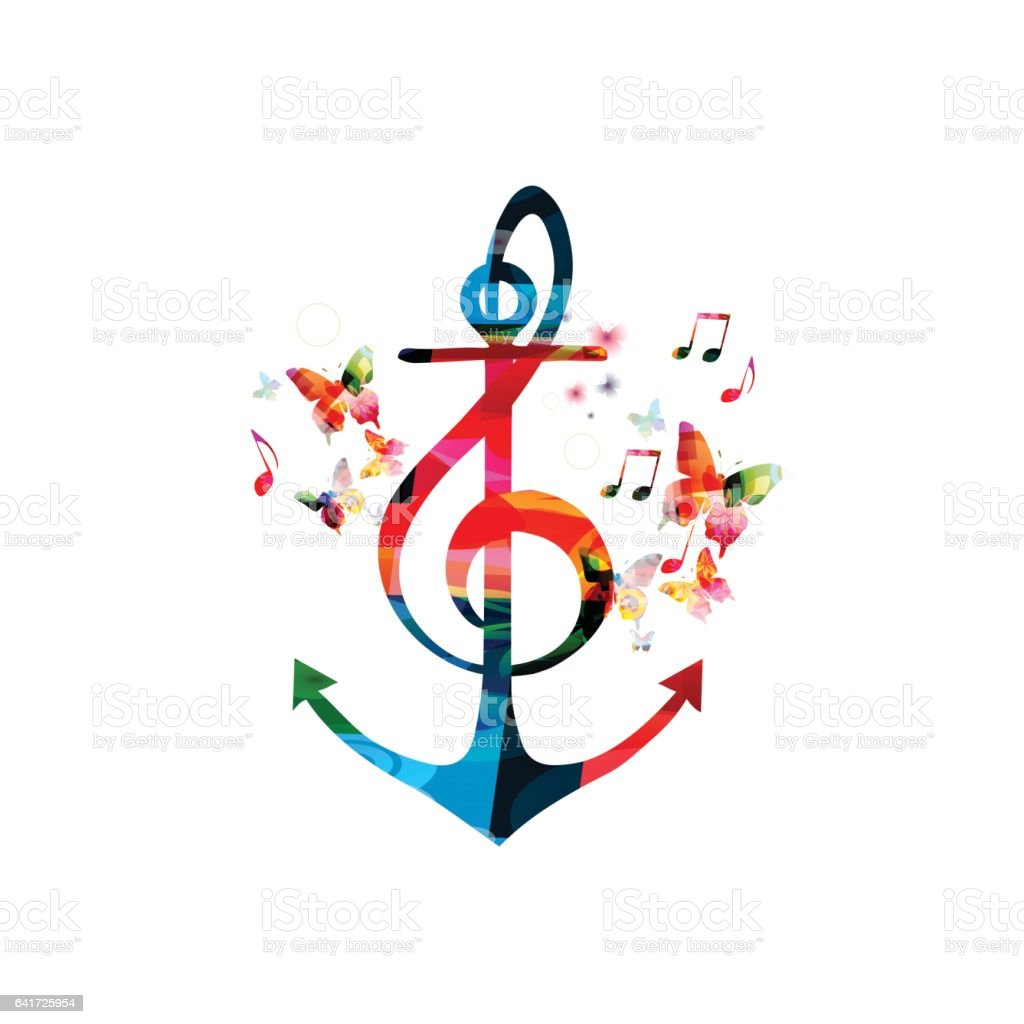 Colorful G-clef with anchor, music vector illustration vector art illustration