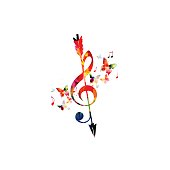 Colorful G-clef with arrow and music notes isolated
