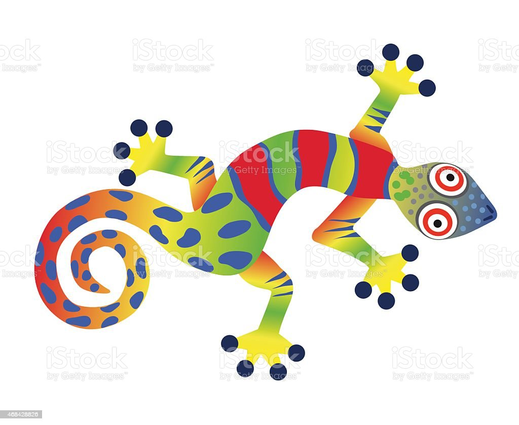Colorful gecko lizard vector art illustration