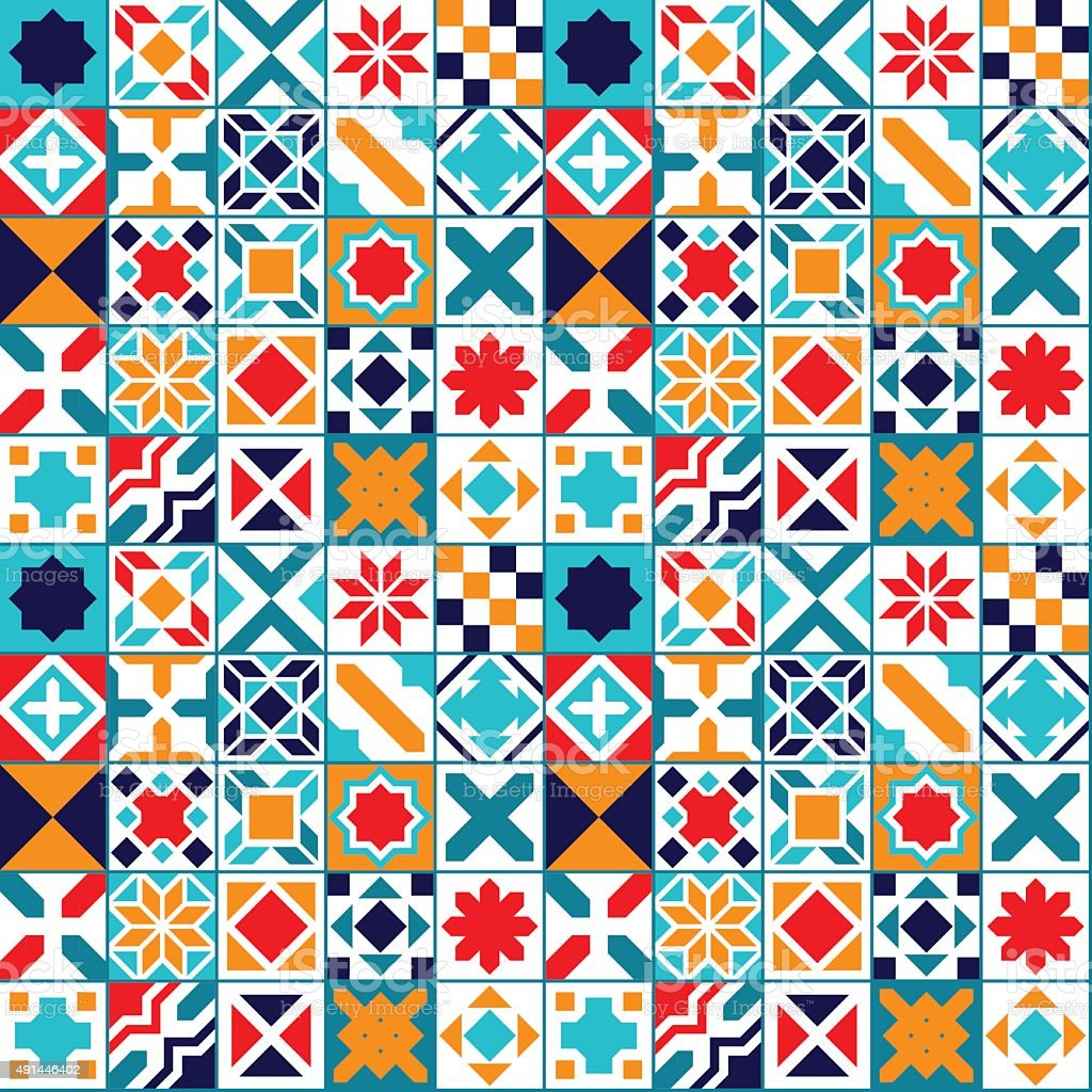 Colorful geometric tiles seamless pattern, vector vector art illustration